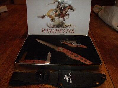 Winchester Limited Edition 2009 Wood Handle Knife 3 Pc Set In Collector's Tin