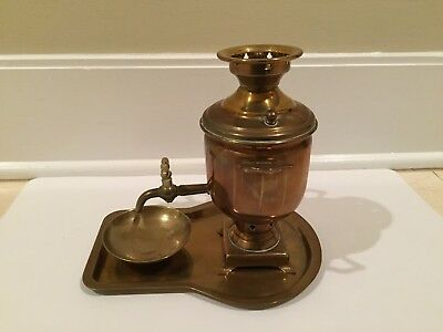 Antique Brass Russian Samovar Replica Tea Urn w/ Tray, & Drip Bowl