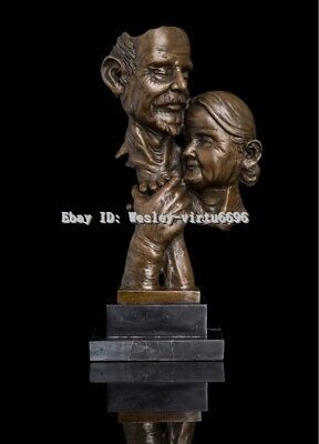 """11"""" West Art Deco Sculpture Bronze Old Couple Man And Woman Hug Abstract  Statue"""