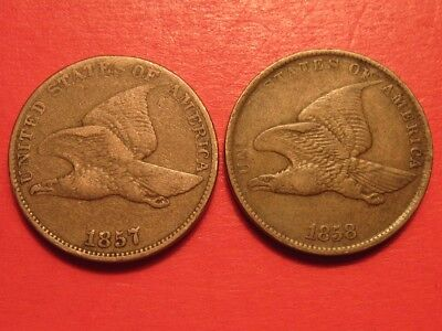 1857 & 1858 Flying Eagle Cents ~ Genuine Copper Nickel ~ Small & Large Letter
