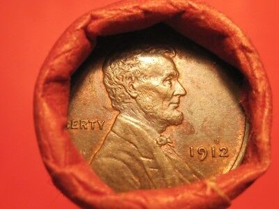 Mixed Small Cent Roll UNC 1912 Lincoln Wheat Cent & 1921-S Lincoln Wheat Cent