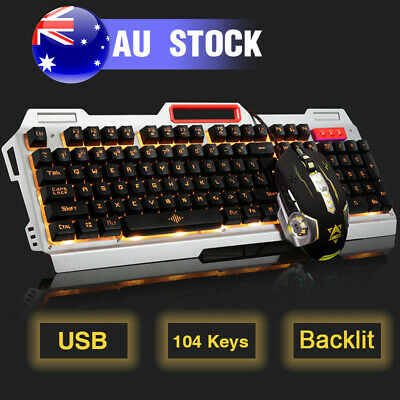 USB Wired Mechanical Game Keyboard LED Rainbow Back Light + Mouse + Pad for PC