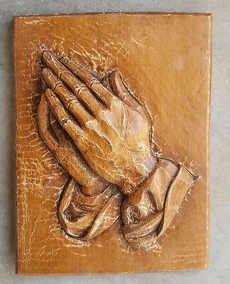 """Vintage Religious Praying Hands Father Wall Art/Plaque 8""""-real wood"""