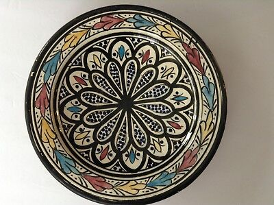 Vintage Art Deco Moroccan Hand Painted Footed Pottery Bowl Signed Safi