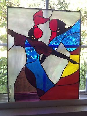 """STAINED GLASS WINDOW AFRICAN DANCERS 20"""" X 16"""" by WILLIAMS signed and numbered"""