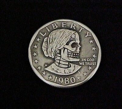 1980 SUSAN B ANTHONY SKULL DOLLAR Hand Carved Original folk art Hobo Nickel