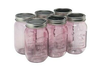 6 Mason Glass Canning Jars 16 oz Pink With Lids and Rings BPA free