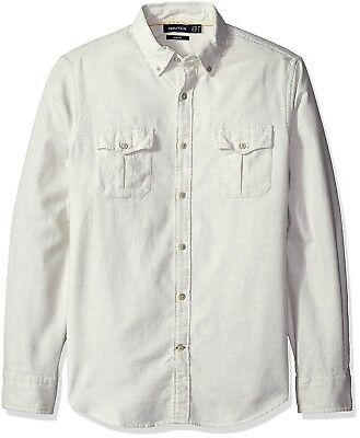 Nautica NEW White Ivory Mens Size Large L Slim Fit Button Down Shirt $89 012