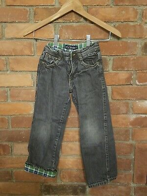 Mini Boden Boys Flannel Lined Gray Adjustable Waist Jeans - Size 6