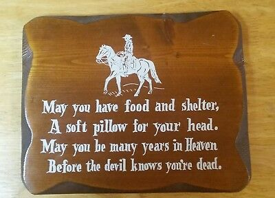 Vintage Cowboy Wall Fun Plaque, Wood 11.5 X 9.5, Western Decor