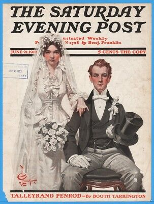 1913 Portrait of Bridal Couple JC Leyendecker Saturday Evening Post Cover Only