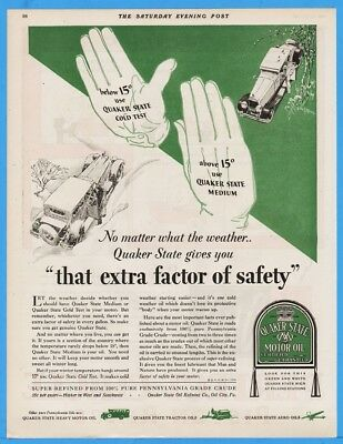 1929 Quaker State Motor Oil City PA Cold Test Medium Gloved Hand Instruction Ad
