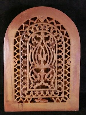"Antique Victorian Gothic Cast Iron Arch Top Heat Vent Or Register 9 7/8"" x13 3/8"