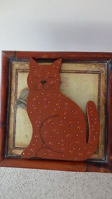 Hand Painted Wood Cat Collectible Decoration Craft