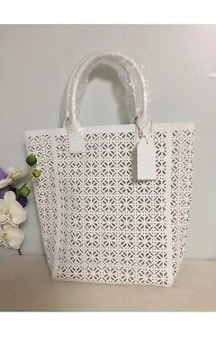 Tory Burch Large White Lace Perforated Patent leather Tote HandBag lace fretwork
