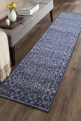 Hallway Runner Hall Runner Rug Modern Blue 3 Metres Long Premium Edith 258