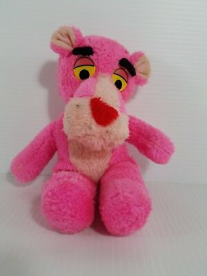 """Vintage 10"""" Pink Panther Plush 1980 by Mighty Star Yellow Eyes"""