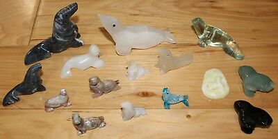 Lot of 15 Little Carved Stone & Glass Seal Sea Lion Figurines