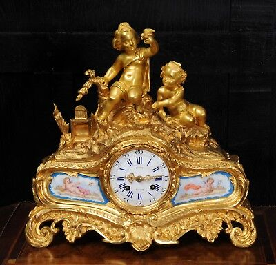 Fine & Early Sevres Porcelain & Ormolu Japy Freres Antique French Clock Rollin