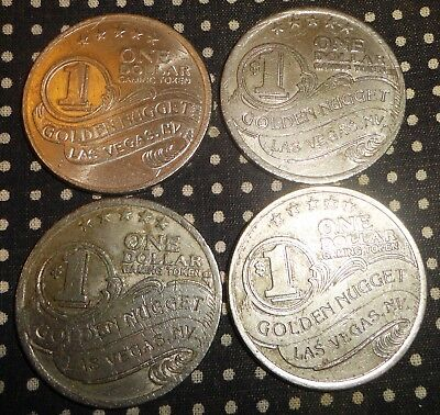 Vintage GOLDEN NUGGET CASINO One Dollar Chip Tokens lot of 4
