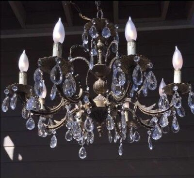 Beautiful 8 Light Vintage  Brass and Crystal Chandelier
