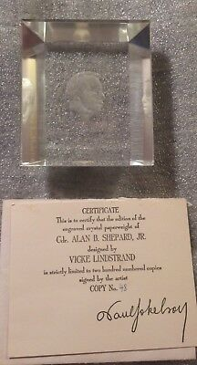 Astronaut Alan Shepard Kosta Crystal Glass Paperweight Signed By Artist In Box