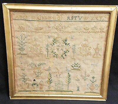 Remarkable Early American Pictorial Alphabet Wrought Sampler, ca.1818