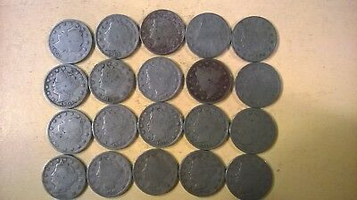 Lot of 20 Liberty Nickels