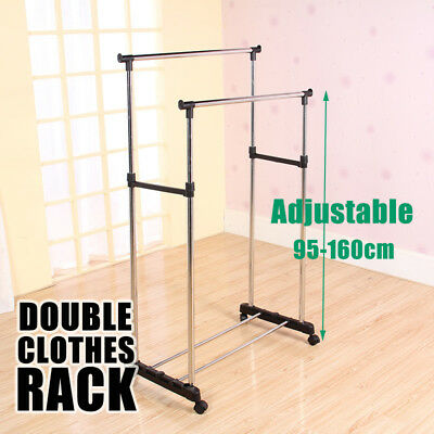 Portable Stainless Steel Clothes Organizer Hanger Rack Garment Coat Dryer Double