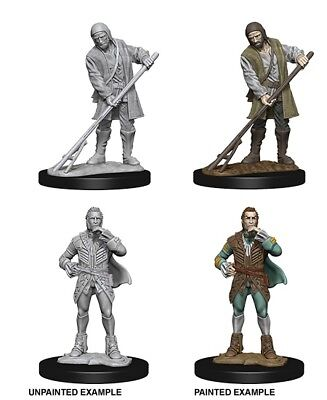 TOWNSPEOPLE - DUNGEONS & DRAGONS PATHFINDER UNPAINTED 2 x 25MM MINIATURES