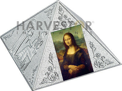 2016 Temple Of Art - 3 Oz. Silver Pyramid Shaped Coin - Louvre Palace - Ogp Coa