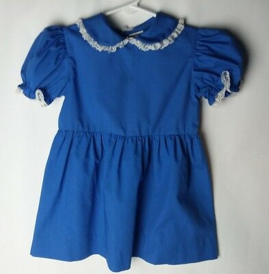 Vintage 70s 80s Baby Girls Toddler Montgomery Ward blue dress girl size 4 3t 4t