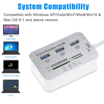 3 Port Aluminum USB 3.0 Hub With MS SD M2 TF Multi-In-1 Card Reader Portable New