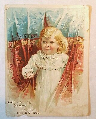 1891 Mellin's Food Victorian Trade Card Infants Invalids Advertisement Boston