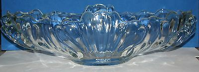 "1930s Art Deco Clear Swirl Wave Pressed Glass 15"" Oblong Center Piece Fruit Bowl"