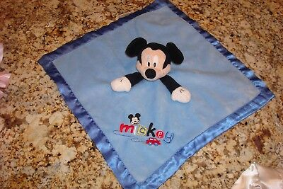 New Disney Baby Mickey Mouse Rattle Security Blanket Lovey Plush Satin