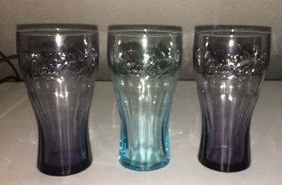 """Set of 3 Coca Cola Embossed Tinted Colored 6"""" Glass Tumblers Blue Purple"""