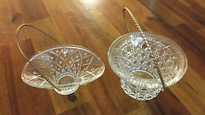 2 Clear Glass Diamond Cut Oval & Round Candy Dish Bowls With Gold Chrome Handles