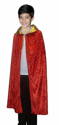 Boys Red Golden Velvet Cape Children King Wise Cloak Coat Book Week Party Outfit