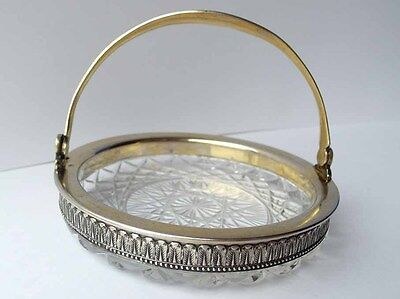Bowl, Crystal Glass, 875 Silver, Russia, FABERGE TYPE, 1950er Years G21