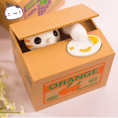 Automatic Stealing Money Cat Kitty Piggy Bank Coin Saving Box Case Gift US STOCK