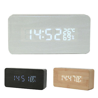Wood LED Temperature Alarm Clock Despertador Digital Table Calendars Wood Bamboo