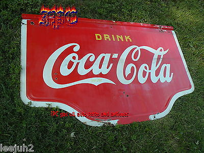 COCA COLA metal sign 40 inch  1940 porcelain