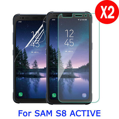 2X 9H Tempered Glass Screen Protector PET Film Guard For Samsung S8 Active G892