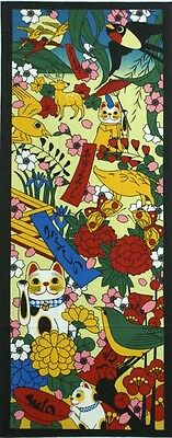 Japanese traditional towel TENUGUI Maneki neko Happy Cat HANAFUDA