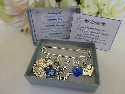 Bride Lucky Sixpence Charm, Something Old, New, Borrowed and Blue Gift Keepsake