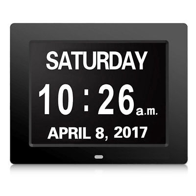 """Digital Calendar Day Alarm Clock Electronic Memory Loss Extra Large 8"""" Day Month"""