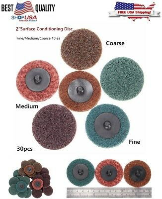 """30pcs 2"""" Coarse Roll Lock Surface Conditioning Disc w/ Roloc Sanding Holder USA"""