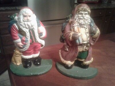 Pair Of Vintage Cast Iron Santa Door Stops