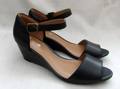 0e76aa017149 NEW CLARKS BRIELLE Drive Womens Black Leather Wedge Sandals - £34.99 ...